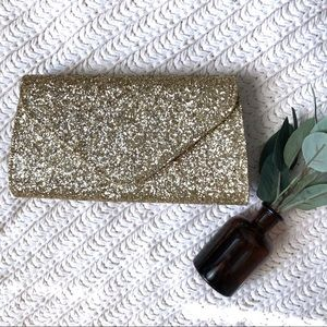 Charming Charlie RSVP Gold Glitter Clutch